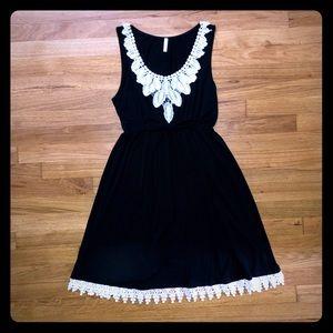 Pinkblush Short Black Maternity Dress w/ Lace Trim